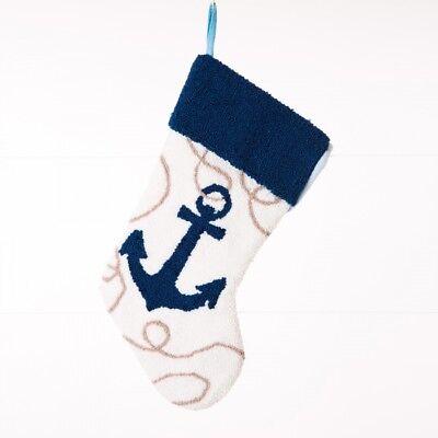 Glitzhome 19'' Handmade Nautical Hooked Anchor Christmas Stocking Gift Bag - Nautical Christmas Stockings