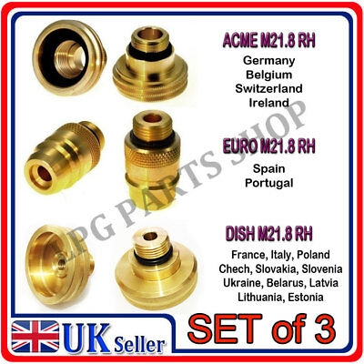 LPG Autogas M218 All Filling Point Adapter Set From UK To Europe  m22 set of 3