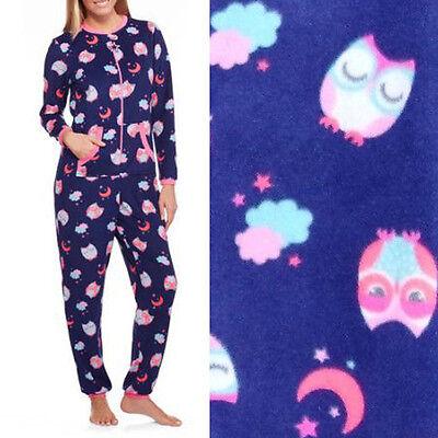 Womens Navy OWL Adult S-XL Union Suit Fleece Pajamas One Piece