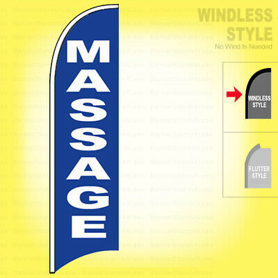 Massage - Windless Swooper Flag 2.5x11.5 Ft Feather Banner Sign Bb