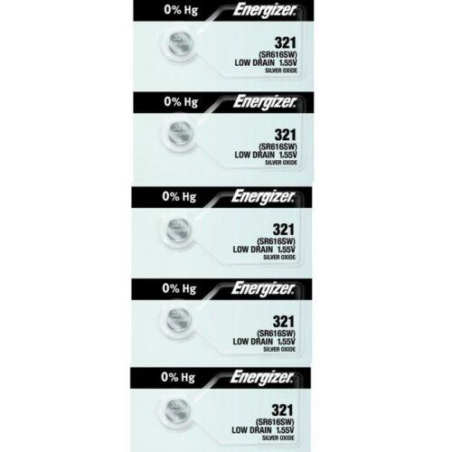 Energizer 321 Low Drain SR616SW Silver Oxide 1.55v Watch Battery 5 Pack