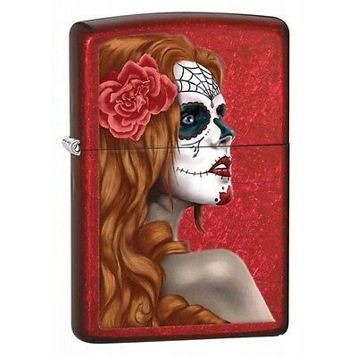 """Zippo """"Day of the Dead-Zombie Woman"""" Candy Apple Red Lighter, Full Size, 28830"""