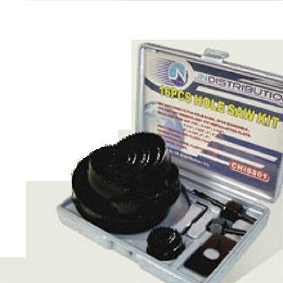 "NEW HOLE SAW SET - 16 pc Hole Saw Kit- 3/4"" - 5"" inch - includes Case"