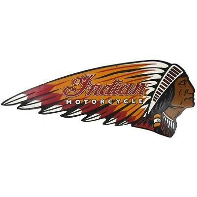 Indian Motorcycle Metal Sign Embossed Headdress / War Bonnet Embossed