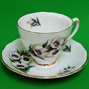Colclough Cup and Saucer with white and burgandy flowers