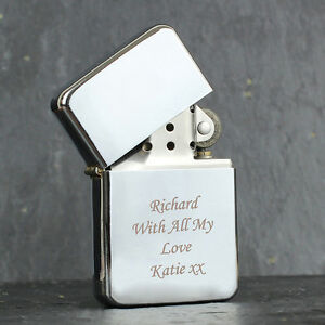 PERSONALISED Petrol Windproof Cigarette Lighter Engraved Name/Message Gift