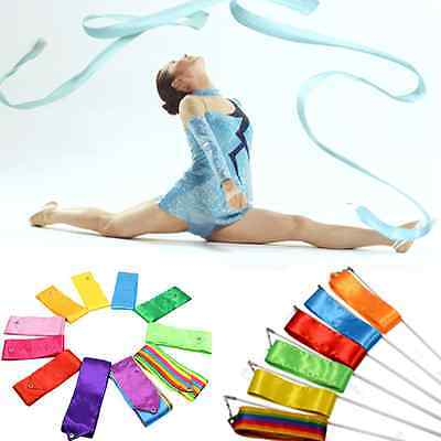 4M Gym Dance Ribbon Rhythmic Art Gymnastic Streamer Twirling Rod Stick Colorful - Dance Ribbon