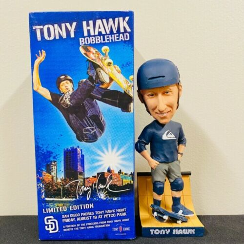 Tony Hawk Bobblehead San Diego Padres Birdhouse Skateboards W/ FULL GAME TICKET