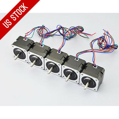Us Ship 5pcs Nema 17 Stepper Motor 12v 0.4a 37oz.in26ncm 4-lead 3d Printer