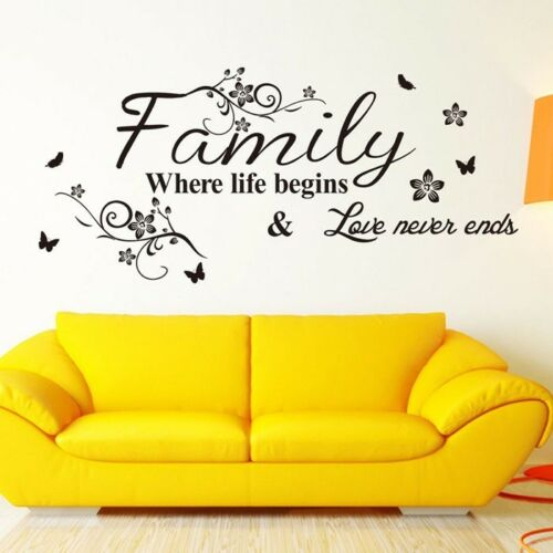 Home Decoration - Home Wall Stickers FAMILY Letter Quote Removable Vinyl Decal Living Room Decor