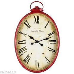 LARGE RED Metal Oval Wall Clock with Handle.Antique style. 34 x 22