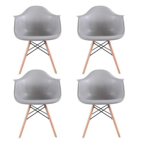 4 X Wohnzimmerstuhl Retro Stühle küchen stühle esszimmer sessel Bürostüle Grau