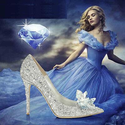 derella Princess Crystal Schuhe Hochzeit Strass Stilettos  (Erwachsene Cinderella Schuhe)