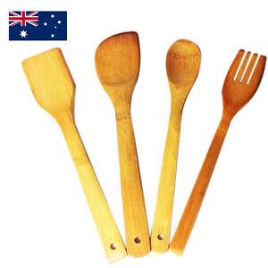 Kitchen Bamboo Utensil Set  Wooden Long Cooking Spoons Pancake Scoop Turner