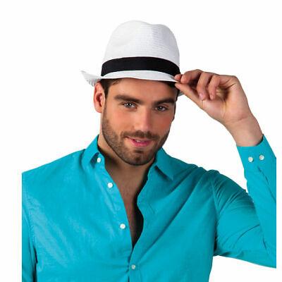 Fedora weiß Hut mit schwarzem Band, Karnevalskostümzubehör Flechthut - Fedora Hut Kostüm