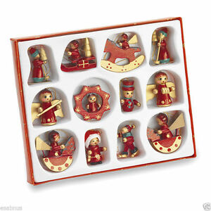 12 x TRADITIONAL WOODEN CHRISTMAS TREE DECORATIONS HAND CRAFTED AND PAINTED