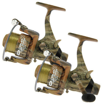 2 x CAMO 40 CARP RUNNER REELS WITH 12LB LINE SPARE SPOOLS FISHING REEL NGT
