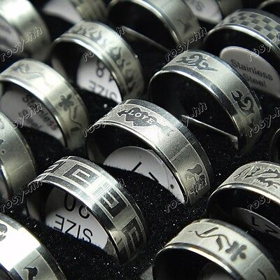Free shipping 50pcs Wholesale Jewelry Lots Stainless steel Mix fashion Rings New on Rummage
