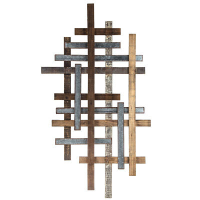Wood Metal Wall Rustic Modern Plank Straight Lines Unique Geometric Home Decor