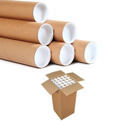 25  Postal Tubes Extra Strong Quality Cardboard A3 335MM X 51MM+Plastic End Caps