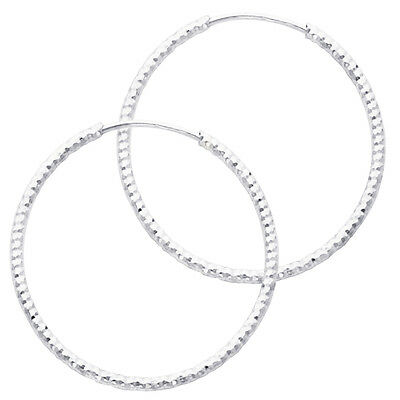 14K White Gold 1mm Thickness Small Diamond-cut Endless Hoop Earrings 20mm 3/4