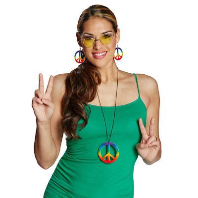 Ohrringe Peace Zeichen // Regenbogen-bunt // Hippiekostüm Zubehör