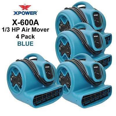 Xpower 13hp Air Mover Carpet Dryer Blower Floor Fan Wgfci Outlets 4 Pack-blue