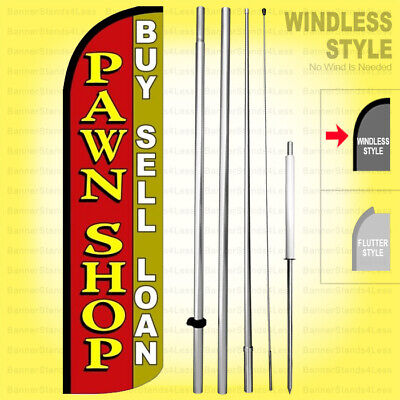 Pawn Shop Buy Sell Loan - Windless Swooper Flag Kit 15 Tall Banner Sign Rq-h