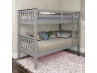 WHITE , OAK & GREY COLORS BRAND NEW SINGLE WHITE WOODEN BUNK BED- SAME DAY DELIVERY