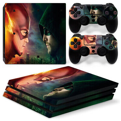 PS4 Pro Skin Sticker Decal Cover 2 Controllers THE FLASH VS GREEN LANTERN