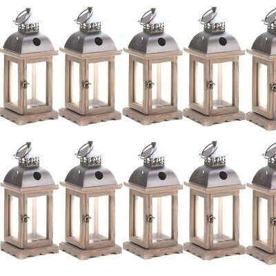 Lot 10 Rustic Wood Lantern Small Monticello Candle holder Wedding Centerpieces](Wood Wedding Centerpieces)