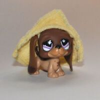 LITTLEST PET SHOP #665 Brown Basset Hound Dog Purple Eyes LPS