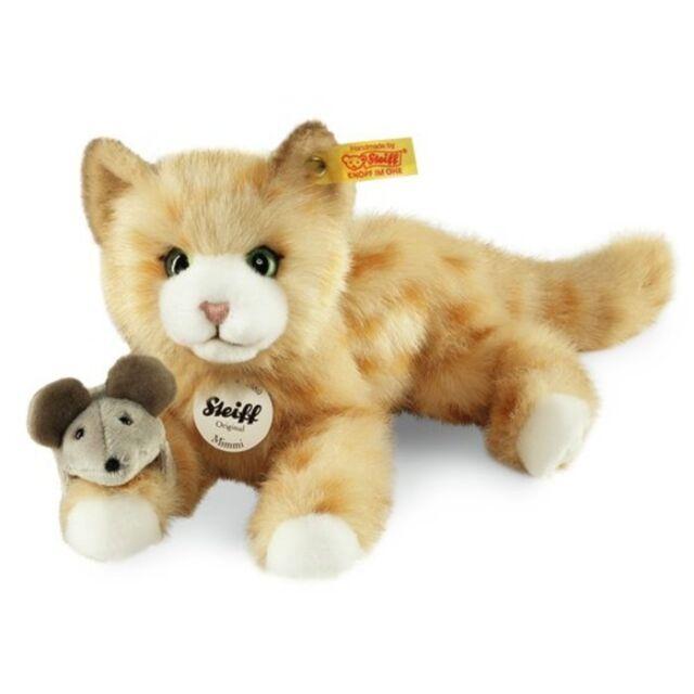 Steiff Katze Mimmi 24cm liegend mit Maus Kuscheltier Plüsch 30°C Geschenk 099434