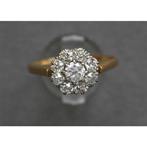 5.20 Carat Diamond Cluster Engagement Ring In Real 14K Yellow Gold Finish