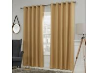 """Blackout Luna Ochre Thermal Eyelet Curtains 90x54""""-New & Sealed"""