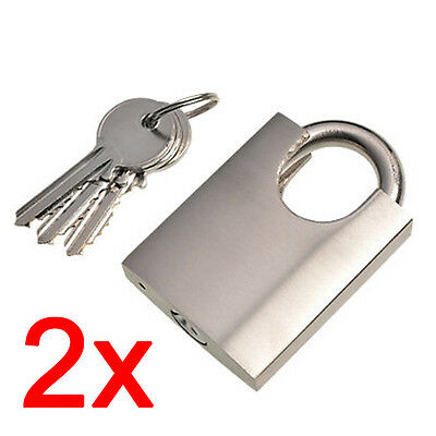 2 X 50MM NICKEL PADLOCK HEAVY DUTY OUTDOOR SAFETY SECURITY SHACKLE + 3 KEYS LOCK