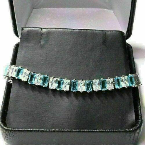 Gorgeous Aquamarine Bracelet Women Jewelry Wedding Engagement Gift Free Ship