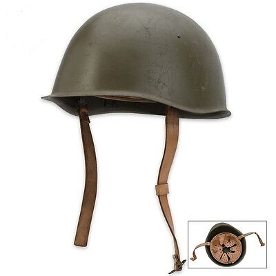 Beautiful Military Surplus Helmet Czech Steel OD Green with Leather liner