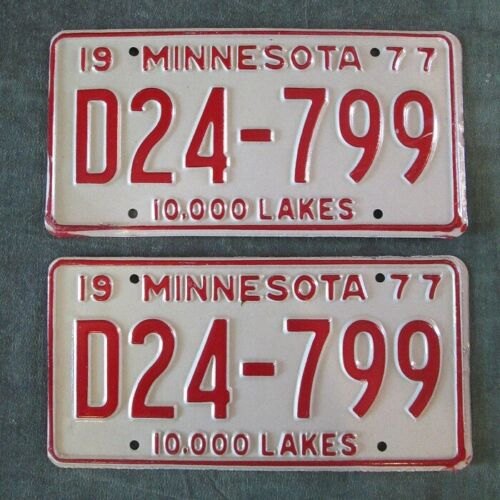 1977 Collector Minnesota License Plate Matched PAIR YOM Plates D24-799 Dealer