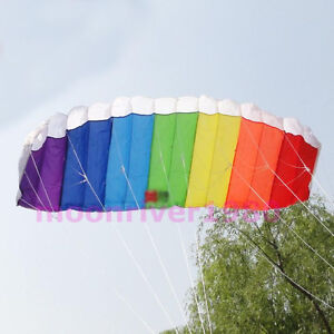 Power Dual Line Stunt Parafoil Parachute Rainbow Sports Beach Kite For Beginner
