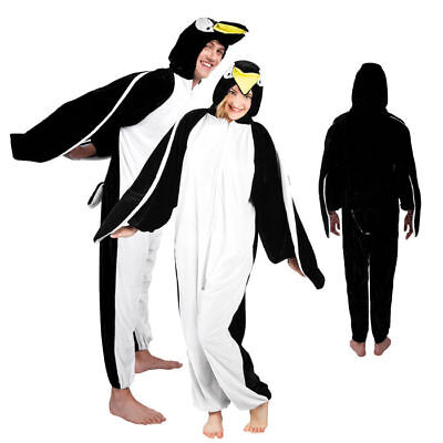 Pinguinkostüm Overall mit Kapuze für Damen und Herren Tierkostüm (Kostüme Pinguin)