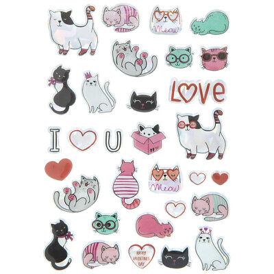 Valentine Day Crafts (Kitty Cat Love Stickers Valentine's Day Planner Papercraft Party DIY Crafts)
