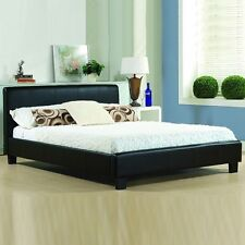 CHEAP BED FRAME DOUBLE KING SIZE LEATHER BEDS WITH MEMORY FOAM MATTRESS DEAL -