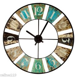 Large 28 Distressed Wood Cut Out Wall Clock Shabby Chic Home Wall Decor. New!!