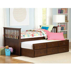 Hardwood Storage Twin Trundle Bed Series