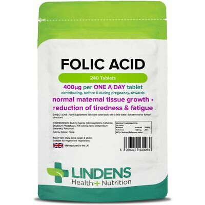 Folic Acid Tablets, 240 tablets, 400mcg - ONE A DAY (folacin, vitamin B-9)