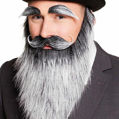 NEU Bart Vollbart Alter Mann, grau Fakebart Kostümbart Karneval Fasching ()