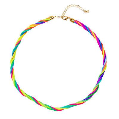 Halskette Neon Regenbogen bunt, Hippiekostüm Zubehör 80er - Hippie Kostüm Halskette