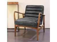 Brand New Shoreditch Black Real Leather Mid Century Armchair