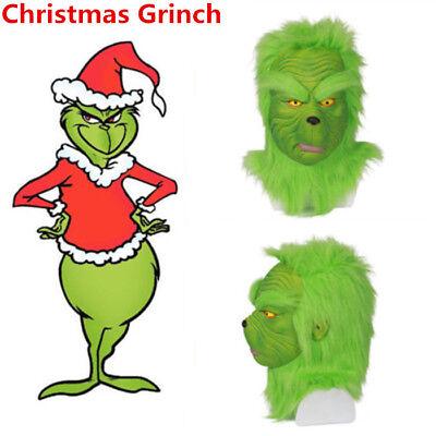 ask Latex Helmet Green Wig Christmas Halloween Cosplay Mask (Grinch Halloween-kostüm)